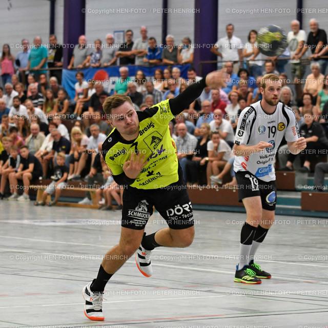 Handball Gross Bieberau Modau - Baunatal 20190824 copyright by HEN-FOTO | Handball 3. Liga Bieberau Modau - Baunatal 20190824 li 7 Robin Büttner (BM) re 19 Sven Vogel (B) copyright by HEN-FOTO Foto: Peter Henrich