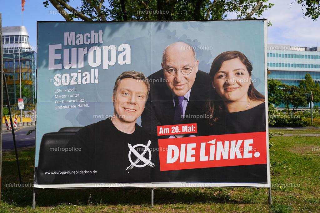 Wahlplakate Die Linke in Berlin EU-Wahl