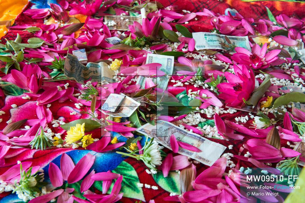MW09510-FF | Myanmar | Nyaung Shwe | Reportage: Phaung Daw U Fest | Seerosen, Geldscheine und Puffreis zählen ebenfalls zu den Spendengaben während des Festivals auf dem Inle-See.    ** Feindaten bitte anfragen bei Mario Weigt Photography, info@asia-stories.com **