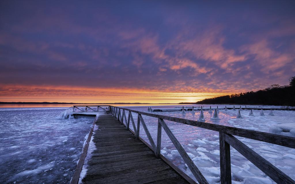 Winter Blast   Sensationelles Morgenrot über dem vereisten Selenter See