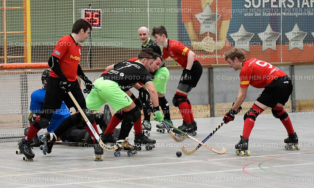 Rollhockey Bundesliga RSC Darmstadt - SKG Herringen (2:6) 20190316 - copyright HEN-FOTO (Peter Henrich) | Rollhockey Bundesliga RSC Darmstadt - SKG Herringen (2:6) 20190316 v li 10 Philip Leyer (DA) 3 Felix Bender (DA) 7 Christoph Rindfleisch (H) 9 Marcel Behnke (DA) - copyright HEN-FOTO (Peter Henrich)