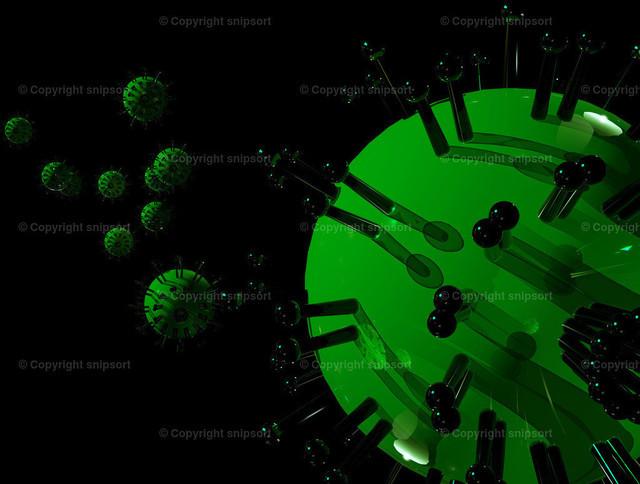 Virusattake | Mehrere giftgrüne Viren in einer Umgebung über schwarzem Hintergrund (3D-Illustration).
