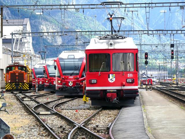 RhB Abstellanlage am Bahnhof Landquart   Ein Blick auf die Abstellanlage in Landquart.  Von links: RhB Gm 3/3 233, ABe 4/16 3102, ABe 8/12 3513, ABe 8/12 3502 & ABDt 511