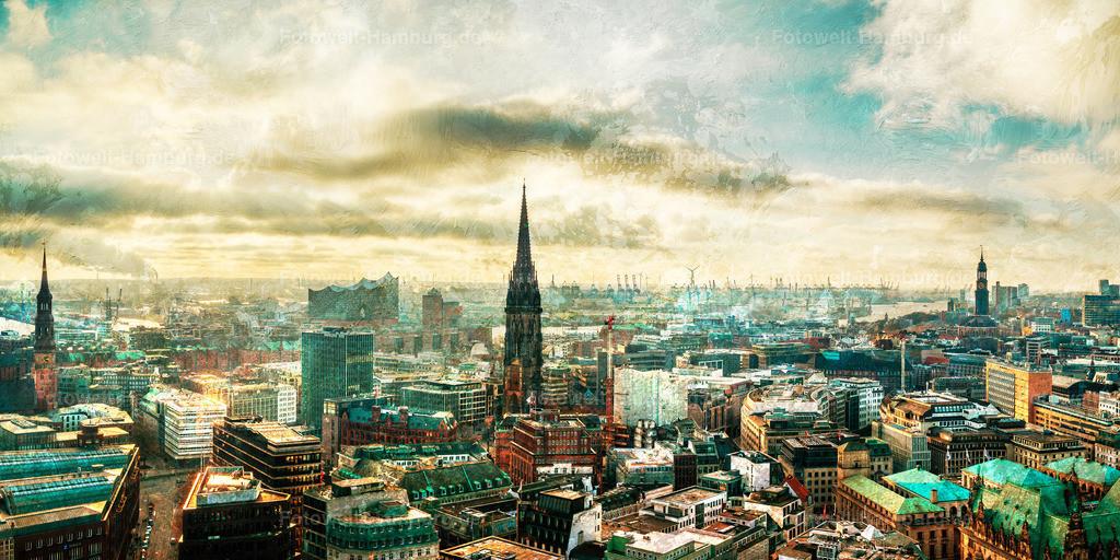 10210101 - Traumhaftes Hamburg | Panoramablick über Hamburg. Die hinzugefügten Strukturen erzeugen einen abstrakten Eindruck und eine fast traumartige Atmosphäre.