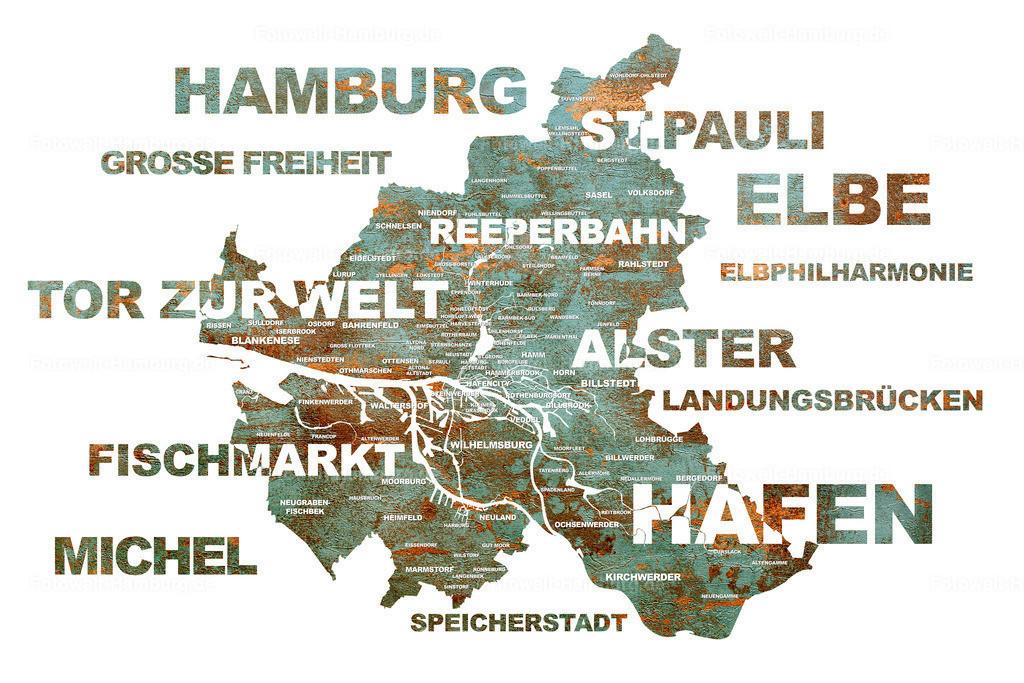 10210508 - Hamburg Stadtplan | Hamburg Stadtplan mit Sehenswürdigkeiten und den Stadtteilen im Typographie-Stil.