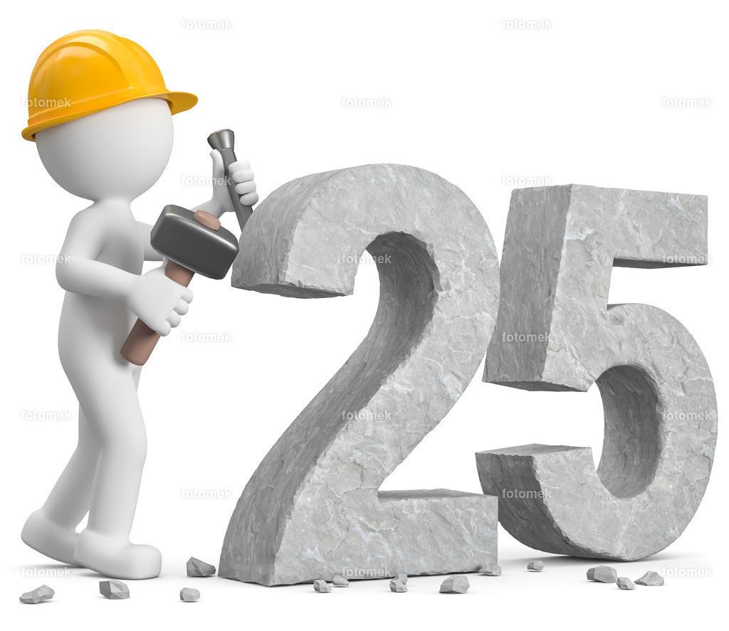 3D Männchen meißelt die Zahl 25 | 3d Männchen meißelt Zahl 25 aus Stein.