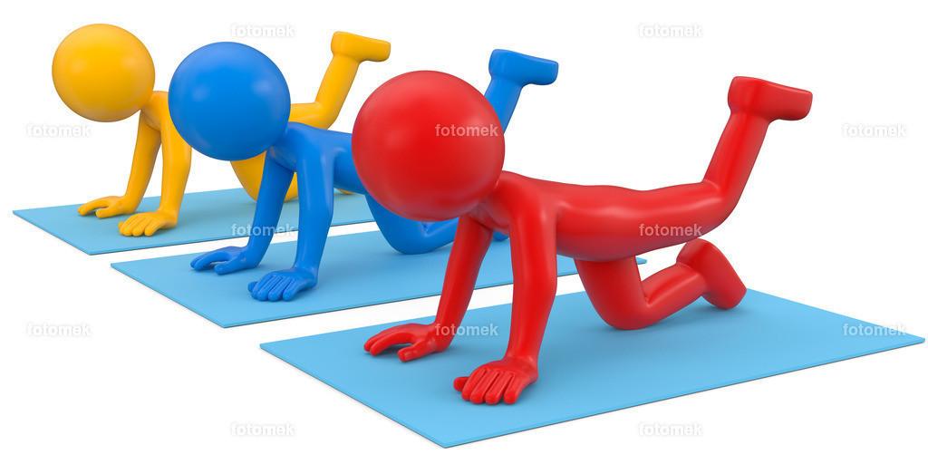 bunte 3d Männchen gemeinsame Übungen