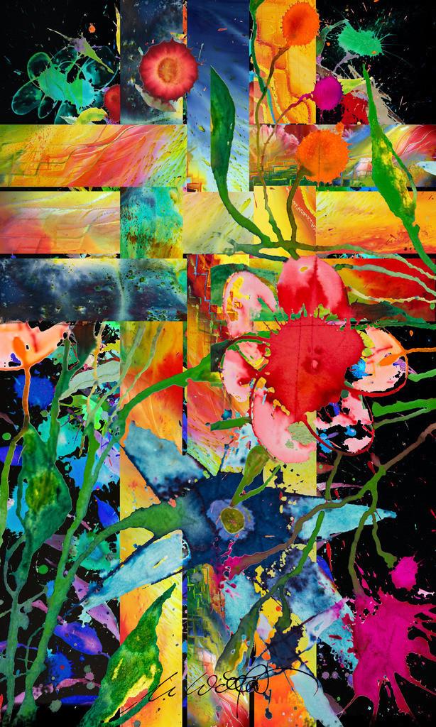 Kreuz Blumen Geflecht_V07 | Das Kreuz. Es wird so oft gedeutet und bleibt ein Geheimnis, geflochten in die Geschichte und das Schicksal der Menschen.  Dreieiniger Gott mit Geist, Leib und Seele des Menschen verwoben. Für die einen der Tod, für andere erst das Leben.  jedenfalls:  Immer lebendig, blühende Hoffnung, farbiges Rätzel  in unserer Nacht.