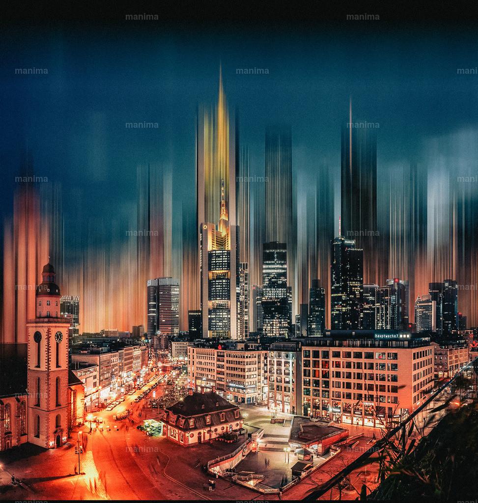 Skyline Motion Blur | Frankfurt - Hauptwache und die Hochhäuser im Hintergrund