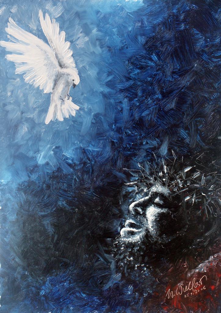 Trost am Kreuz | Wie es Jesus Christus am Kreuz erging, hat man sehr viel dargestellt. Ich habe sehr schöne Fotografien am PC zusammengestellt und wollte das auch mal klassisch malen. Ein Ölbild.