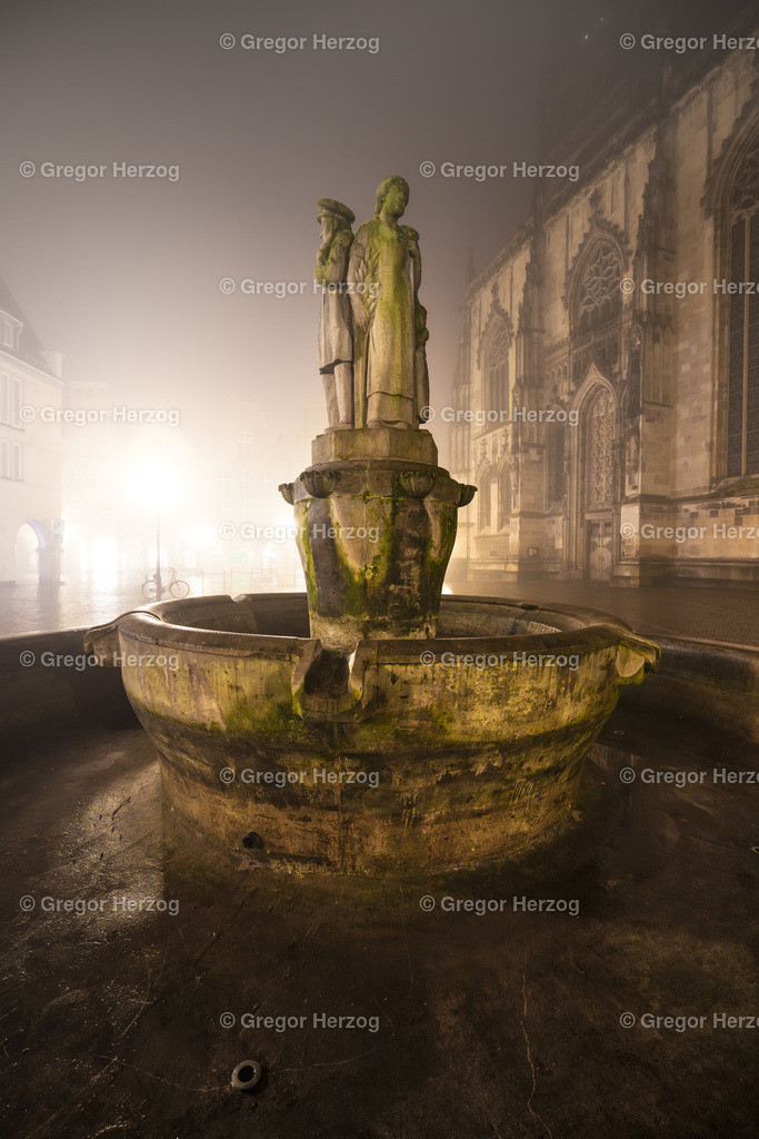 Magischer Lamberti-Brunnen | Brunnen im Nebel, ein toller magischer Moment
