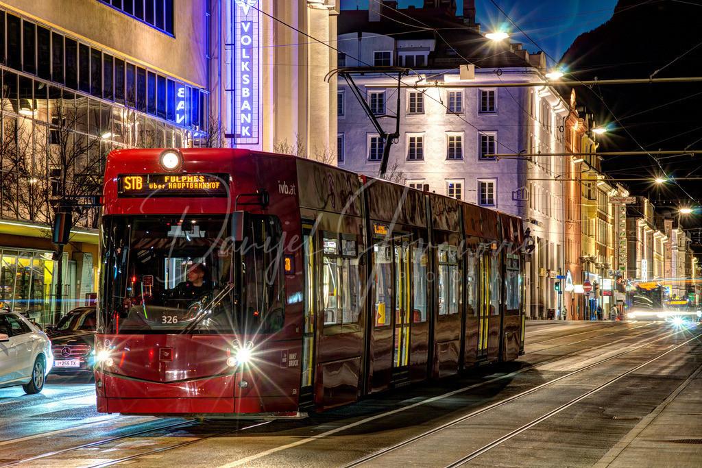 Straßenbahn Innsbruck | Garnitur der Stubaitalbahn in der Museumstraße