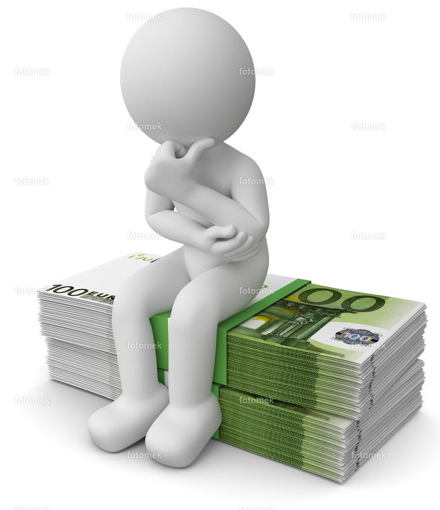 weisses 3d Männchen Gedanken über Anlage | 3d weisses Männchen in Gedanken über eine sinnvolle Geldanlage