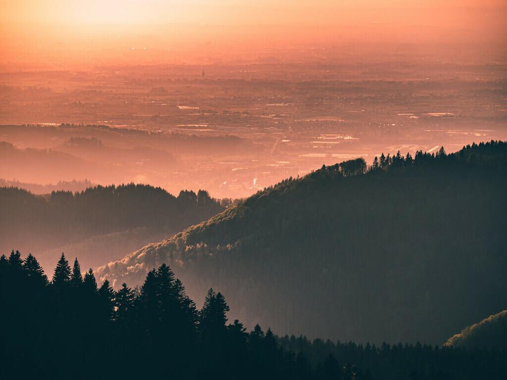 Schwarzwaldpanorama | Traumhafter Sonnenuntergang im Nordschwarzwald bei Oppenau, Gemarkung Zuflucht