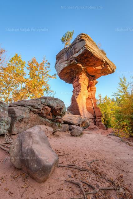 Teufelstisch im Pfälzerwald   Der Teufelstisch im Pfälzerwald liegt bei Hinterweidenthal. Es handelt sich hierbei um einen 14 m hohen Pilzfelsen, der an einen Tisch erinnert.