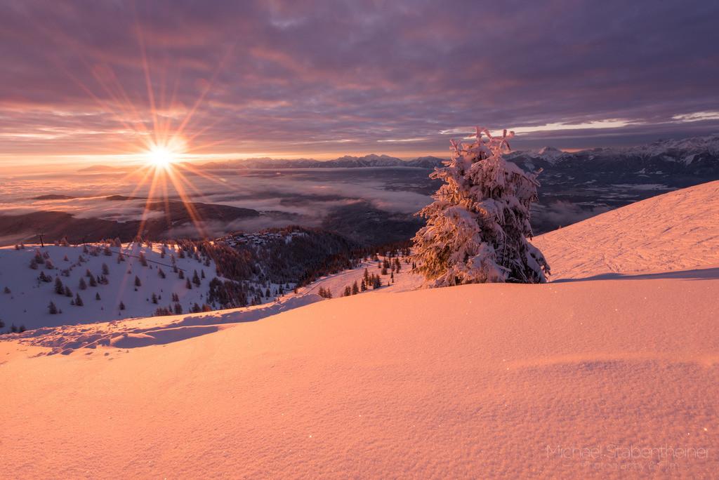 Sonnenuntergang auf der Gerlitzen | Winter auf der Gerlitzen mit einem Blick über Kärnten