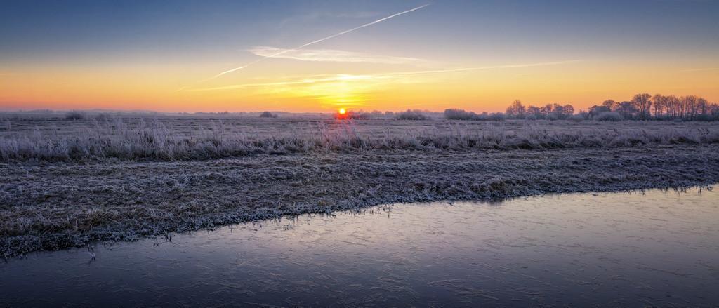Winter in den Hammewiesen | Sonnenaufgangspanorama in den Hammewiesen.