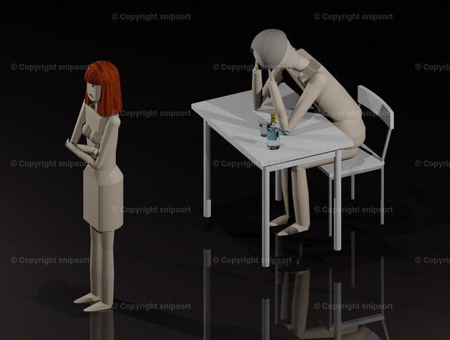 Ehekrise (3D-Rendering) | Konzept einer Ehekrise mit verschlossener Frau und trinkendem Ehemann.