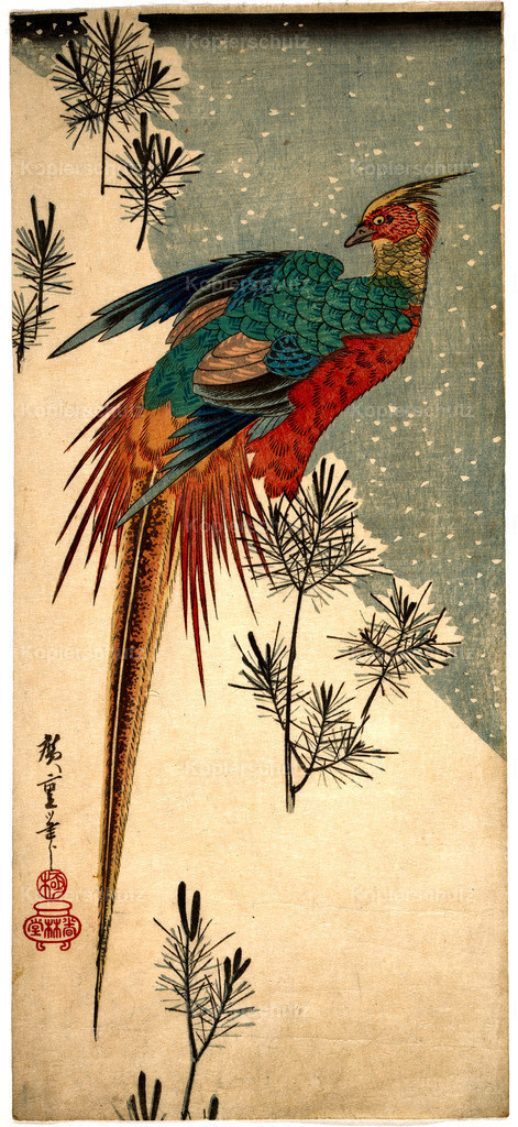 Utagawa Hiroshige Golden Pheasant and Pine Shoots in Snow 1835 - Large
