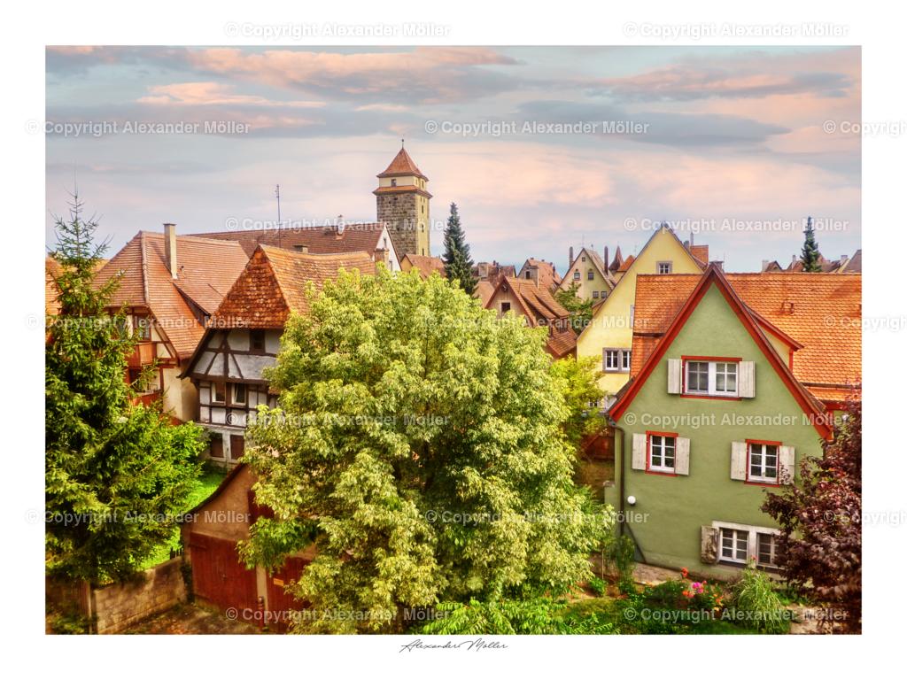 Rothenburg ob der Tauber No.86   Dieses Werk zeigt einen verträumten und malerischen Blick auf die Rothenburger Altstadt.
