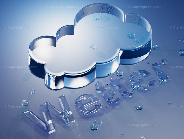 Regenwolke und Überschrift Wetter | Konzept von Wettervorhersage mit Wolken und Regen (3D-Rendering).