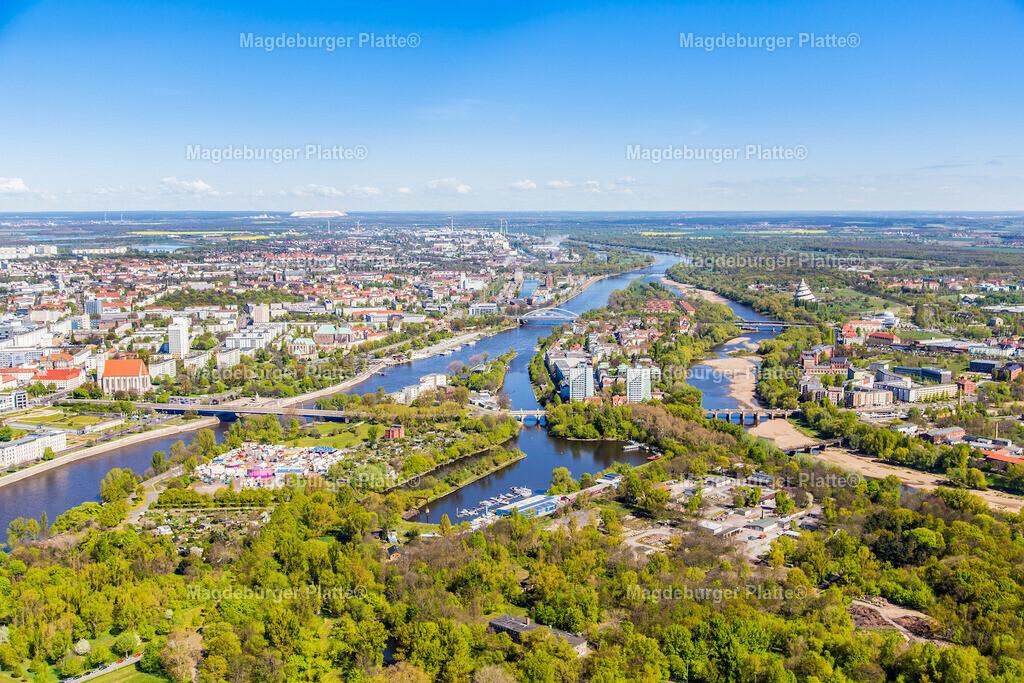 14 Luftbild Magdeburg Werder Elbe Zollhafen Rtg Norden IMG_2185