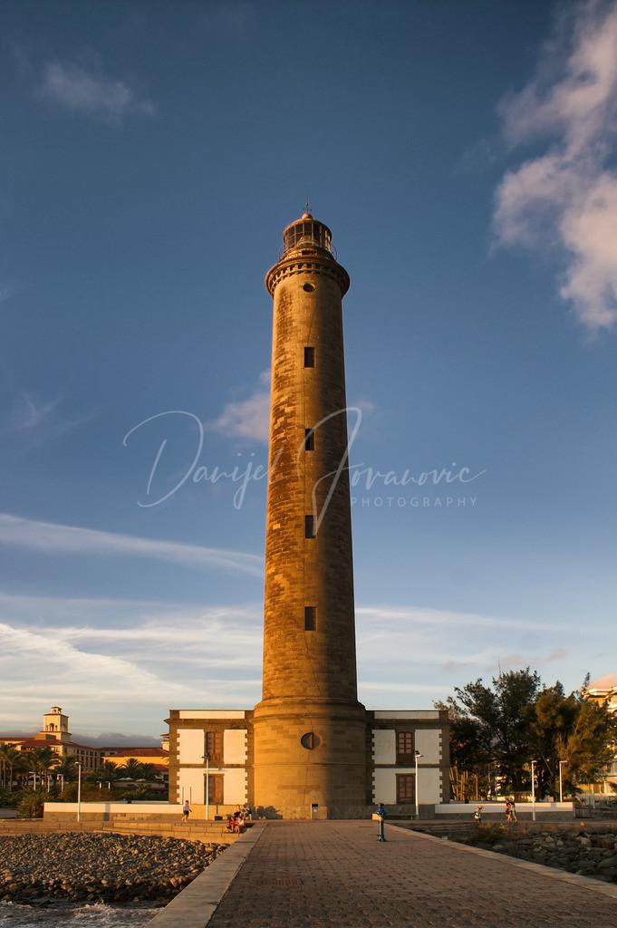 Faro de Maspalomas   Der Leuchtturm von Maspalomas in der Abendsonne