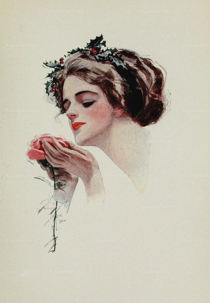 Fisher_ Harrison (1875-1934) - American Girls in Miniature 1912 - Holly girl with rose