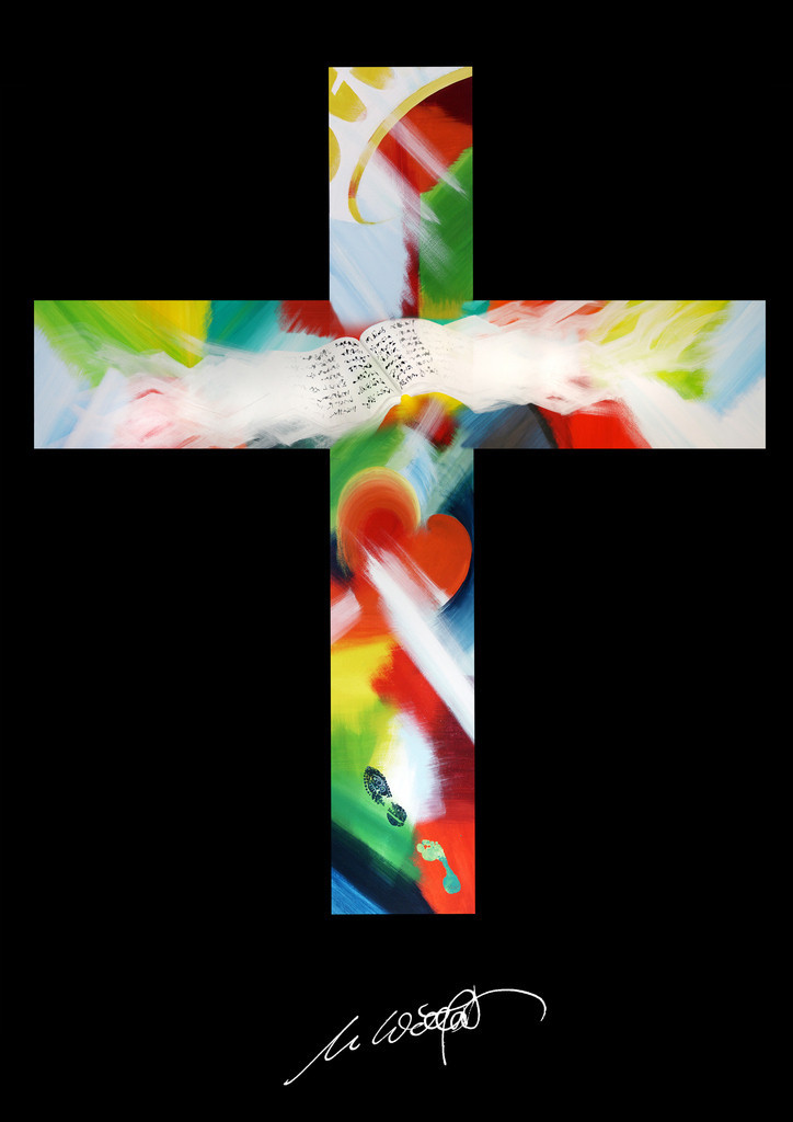 Farben Kreuz   Es ist eigenartig: Das Symbol für den Tod birgt das Leben. Das wollte ich in dieser digitalen Bearbeitung meiner beiden größten Gemälde vermitteln. Tatsächlich wird es gerne als Beileidskarte verwendet und strahlt Leben aus.