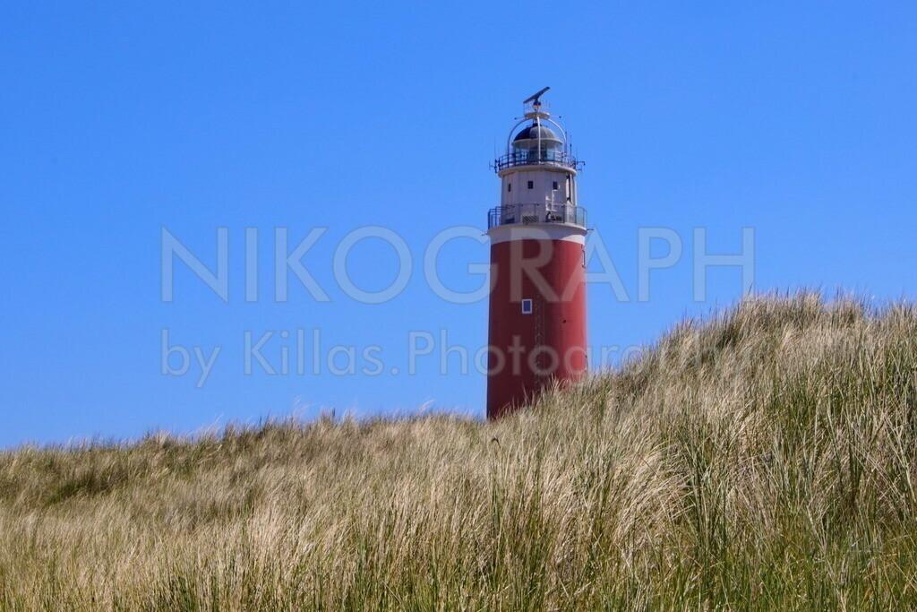 Der Leuchtturm von Texel im Dünengras | Der Leuchtturm von Texel liegt am nördlichen Ende der niederländischen Nordseeinsel Texel. Seit 1927 wird der Leuchtturm elektrisch betrieben. Im November 1864 wurde der Leuchtturm mit Petroleum-Brennern in Betrieb genommen. Das Leuchtfeuer blinkt zweimal im 10-Sekunden-Takt und ist ca. 29 Seemeilen sichtbar.