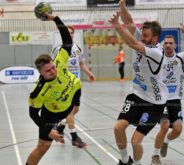 Handball Gross Bieberau Modau - Baunatal 20190824 copyright by HEN-FOTO | Handball 3. Liga Bieberau Modau - Baunatal 20190824 li 7 Robin Büttner (BM) re 28Felix Gessner (B) copyright by HEN-FOTO Foto: Peter Henrich