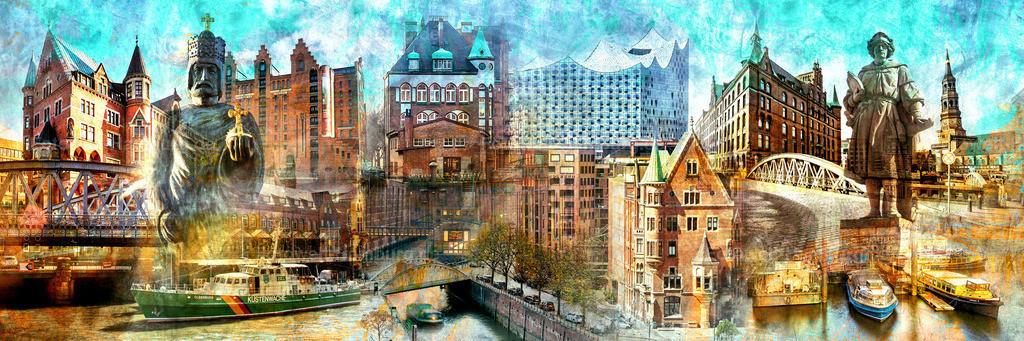 10210613 - Hamburg Speicherstadt Panorama | Modernes abstraktes Hamburg Panoramabild mit Motiven rund um die Speicherstadt