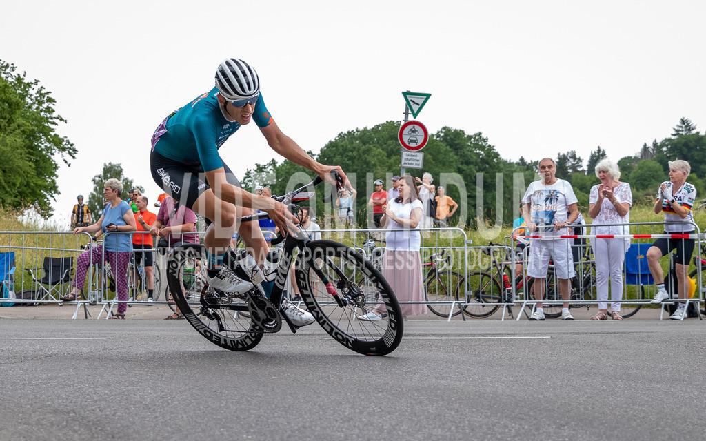 Stuttgart, Germany - June 19, 2021: Deutsche Straßenradmeisterschaften 2021, Straßenrennen, Männer | Stuttgart, Germany - June 19, 2021: Deutsche Straßenradmeisterschaften 2021, Straßenrennen, Männer, Justin Wolf (BIKE AID), Photo: videomundum