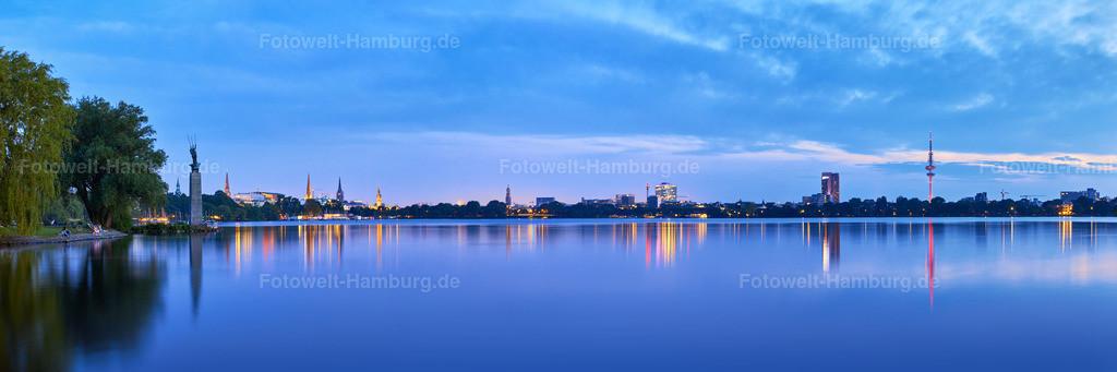 11974808 - Blauer Alstertraum | Panorama an der Aussenalster am Abend