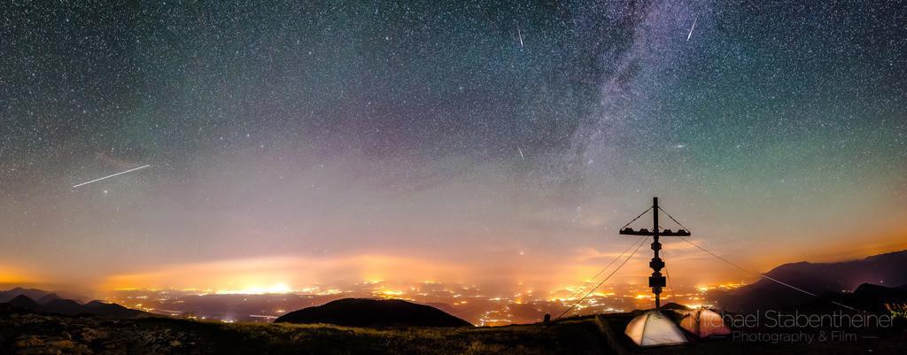 Milchstraße am Hochobir | Nachtaufnahme am Hochobir mit Blick über Kärnten. Milchstraße, ISS und Sternschnuppe