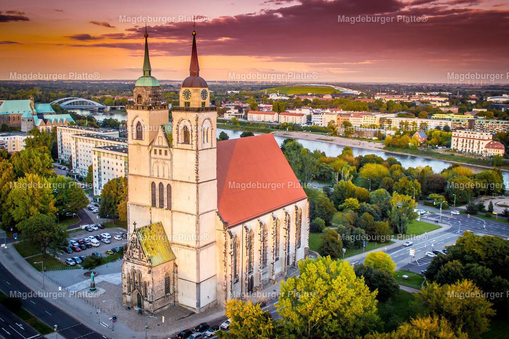 Luftbild Magdeburg Johanniskirche Sonnenuntergang NEU-2580