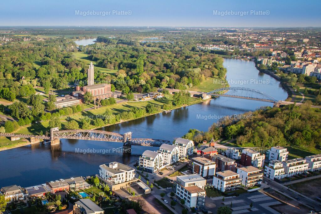 Luftbild Magdeburg Dom Hubbrücke Stadthalle-6721