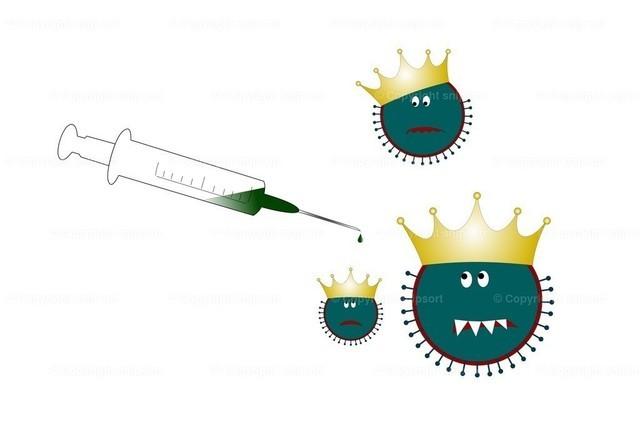 Impfung gegen das Coronavirus | Cartoon mit Coronaviren, die sich vor einer Spritze mit einem Impfstoff fürchten.
