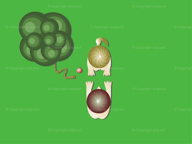 Der Sündenfall im Paradies | Eva bietet Adam einen Apfel vom Baum der Erkenntnis im Paradies an