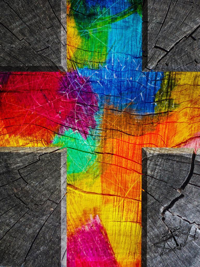 Kreuz aus Farbe | Ich denke:  Das Kreuz ist weniger zum Anfassen, als zum Hineinschauen und Erkennen.