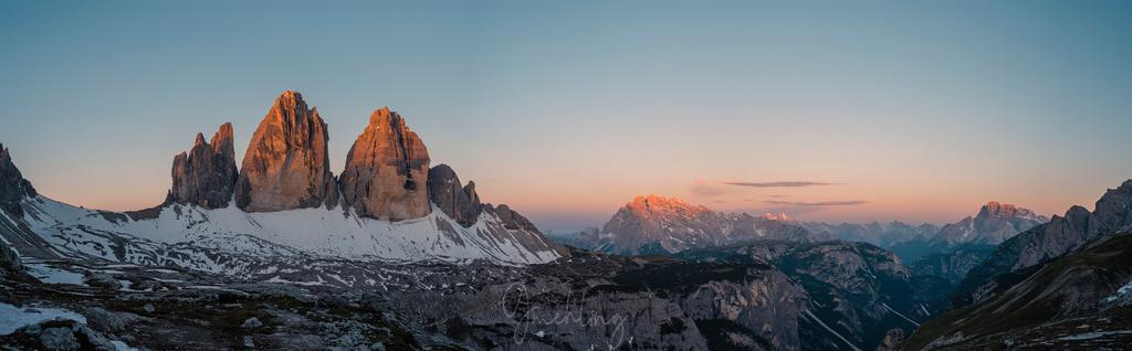 Sonnenaufgang an den Drei Zinnen | Morgenrot an den Drei Zinnen in Südtirol