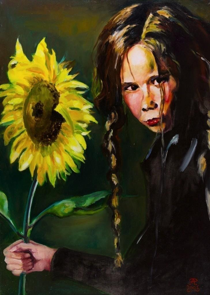Mädchen mit Sonnenblume | Originalformat: 70x60cm  -  Produktionsjahr: 2005