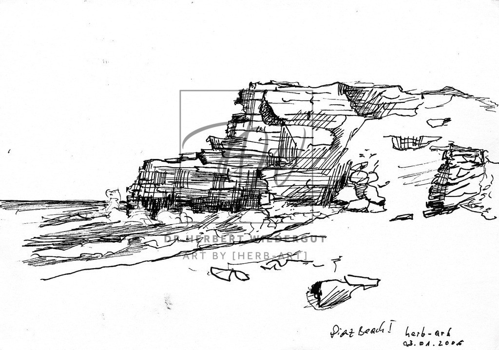 Diaz Bay | Am südwestlichen Ende Südafikas. Hinter der Feslformation ist das Kap der guten Hoffnung. Die Skizze entstand in brütender Hitze sitzend auf einem kleine Felsen in dieser wunderschönen Bucht.
