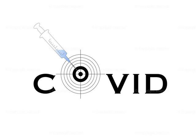 Konzept Impfung gegen Covid-19 (Vektor) | Eine Spritze in einer Zielscheibe als Konzept einer Impfung gegen Corona-Virus.