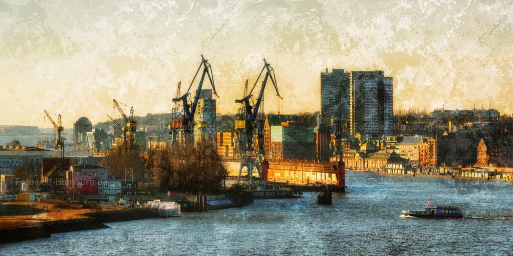 10210213 - Blick über die Elbe   Spektakulärer Blick über die Elbe auf den Hamburger Hafen. Die hinzugefügten Strukturen erzeugen einen abstrakten Eindruck und eine fast traumartige Atmosphäre.