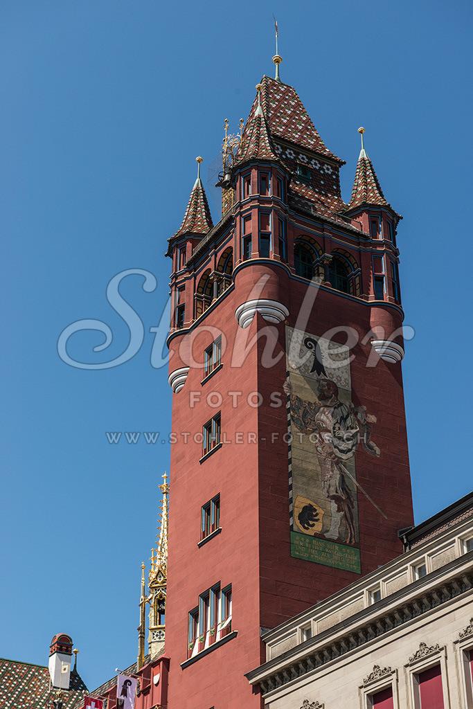 Rathaus, Basel (BS)   Der Rathausturm beim Marktplatz in Basel, Kanton Basel-Stadt.