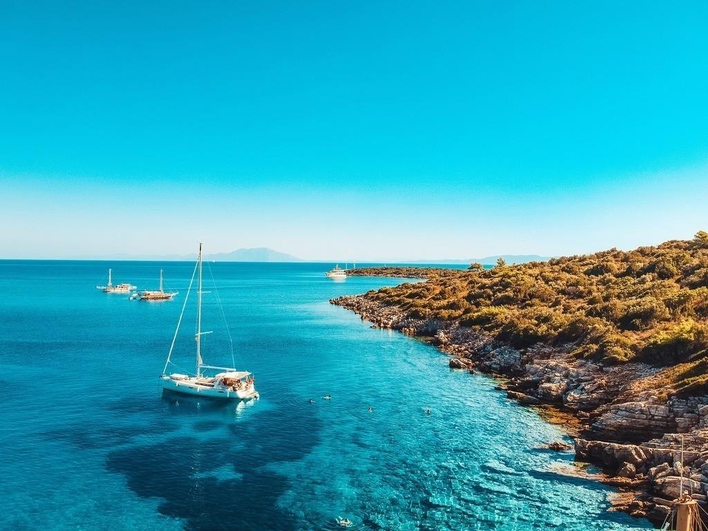 Drohnenperspektive Isla Orak | Luftaufnahme von einer Bucht in der Türkei