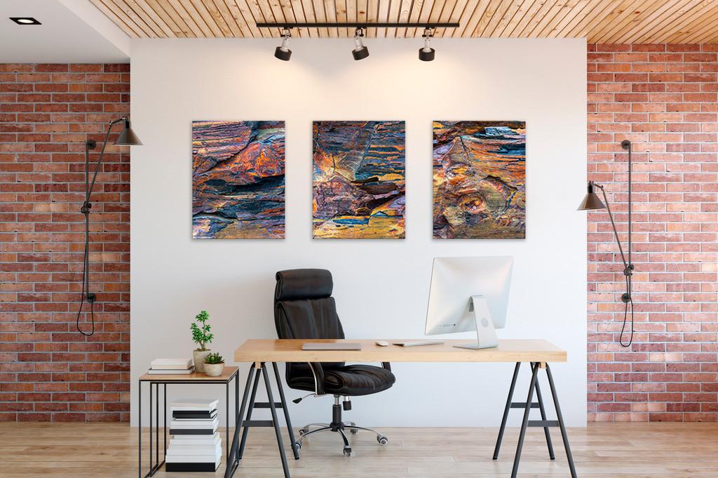 Wandbilder  für Ihr Büro Triptychon | Anwendungsbeispiel für Wandbilder in Ihrem Büro. Dieses Triptychon finden Sie in der Kategorie Nimm drei - Steingeschichten.