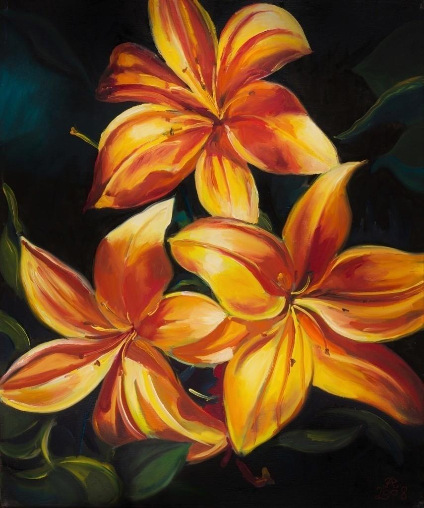 Flammende Lilien | Originalformat: 60x50cm  -  Produktionsjahr: 2008