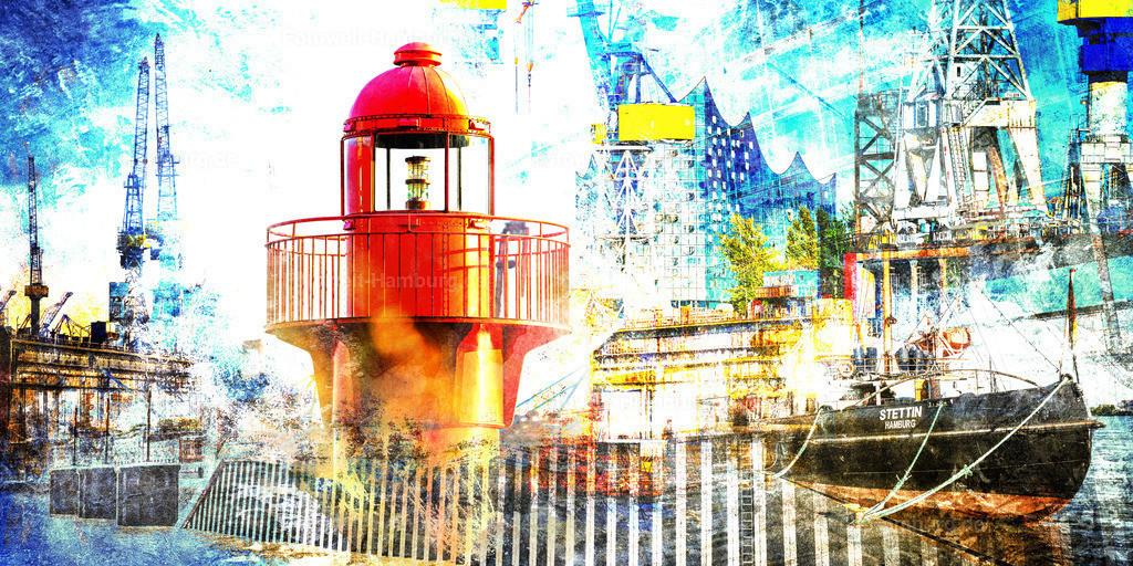 10201013 - Hamburg Collage 041 | Maritime moderne Hamburg Fotocollage mit Motiven aus dem Hamburger Hafen.